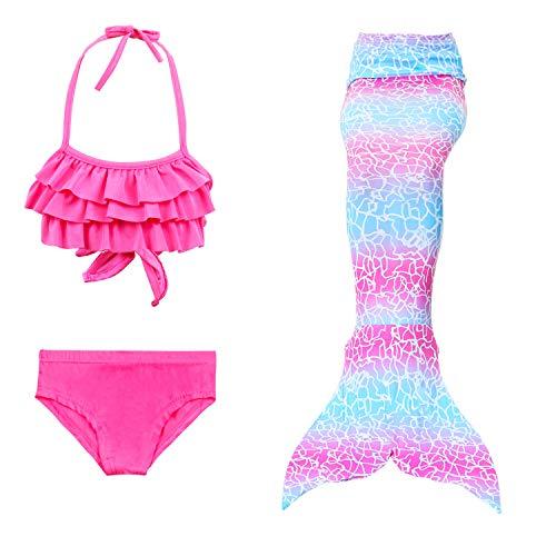 Lee Little Angel New Girl Mermaid Schwanz Bikini dreiteiligen Anzug (130, DH31+WJF48)