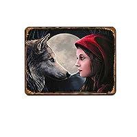 狼の金属スズのマークの看板の旧式の動物の馬の口の鉄のポスターの壁のクラブのパーティー人の洞穴の家の装飾の標識の札の装飾20x30cm