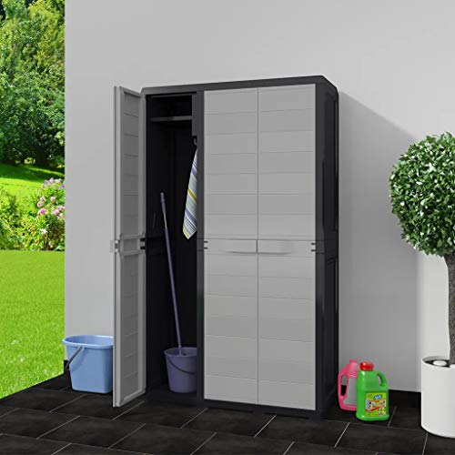 Ausla Outdoor Storage Cabinet, Polypropylene Garden Storage Lockable Cabinet Outdoor Storage Shed Cabinet with 4 Shelves for Patio, Tool or Garage Organization,Black and Gray