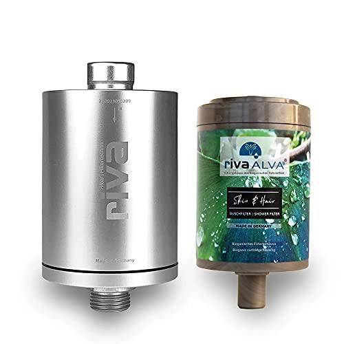 rivaALVA Skin & Hair Duschfilter, Wasserfilter für die Dusche, Filtert Bakterien und Keime, Schützt vor Schadstoffen, Metall-Gehäuse in Silber