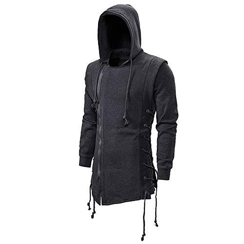 JMSUN Men's Zipper Hoodie Side Lace Up Fleece Gothic Hooded Assassins Creed Jacket for Men Dark Gray