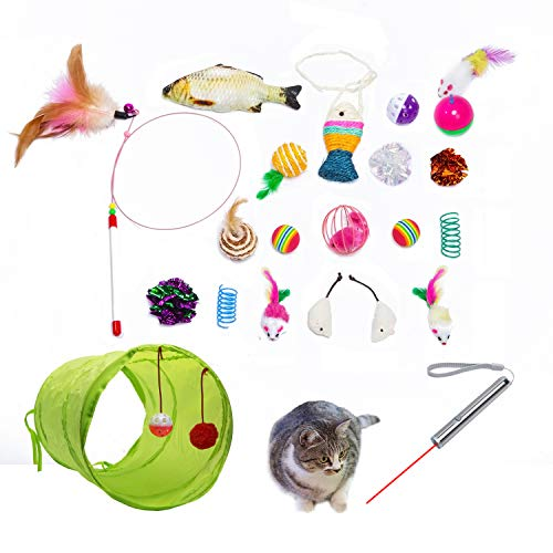 Cat Toys AKAT, 21 Kitten Toy Assortments, 2 Way Tunnel, Laser Red Light Pointer, Catnip Fish, Cat Feather Teaser - Wand Interactive Feather Toy Fluffy Mouse, Crinkle Balls for Cat, Puppy, Kitty, Kitten