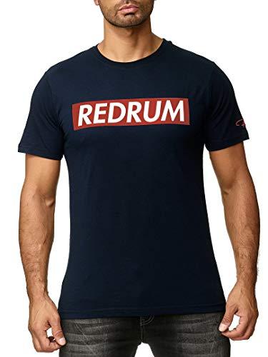 REDRUM Streetwear Fashion Herrenshirt T-Shirt Hip-Hop Kurzarm-Shirt Men beschriftet Beschriftung Aufschrift Bedruckt Modell Logo (Navy-Blau V2, 54 - XL)