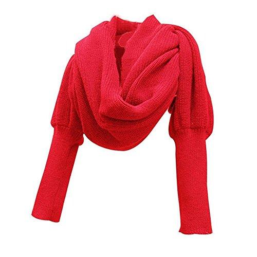 Stofirst Mode Herbst Winter Warm Häkeln Stricken Einfarbig Wrap Schal Shawl Cape mit Ärmeln Für Damen Herren