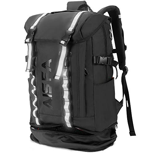 AISFAリュックメンズ リュックサックスクエア バックパック15.6インチ PC ビジネス ラップトップバック 30L 防水 USB充電ポート付き アウトドア旅行 通勤 靴/弁当収納 (ブラック)