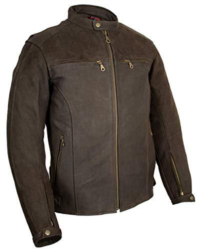 MDM Retro Motorrad Lederjacke in braun aus Nubukleder (L)