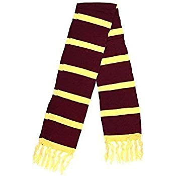 Adults Maroon Yellow Scarf School Boy Wizard Harry Potter Unisex Fancy Dress