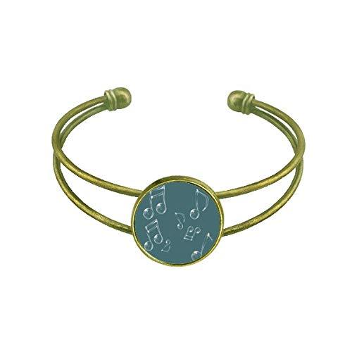 DIYthinker Music Notation Bubble Combination Pattern Bracelet Bangle Retro Open Cuff Jewelry