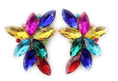 Pendientes largos grandes mujer bisutería alta gama cristales de colores espectaculares fiesta boda, multicolor