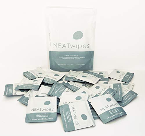 NEATwipes Hand Sanitizing Wipes, Lavender Essential Oil | Disposable, Biodegradable | Soothing Aloe & Glycerin | 99.9% Effective Against Germs | On-The-Go | 24 Individually Wrapped Wipes per Package