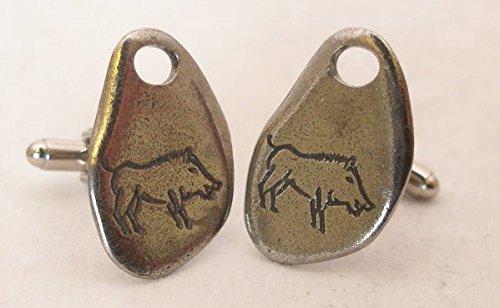 Boutons de Manchette Peinture Rupestre (Sanglier) avec Boîte à Cadeau