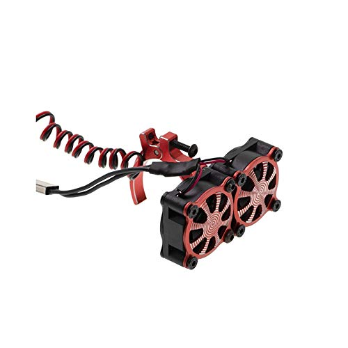 Exanko Ventilador de Enfriamiento del Disipador de Calor del Motor con Sensor TéRmico para Motores 540550 3650 3660 1/10 RC Coche Axial SCX10 TRX4, Rojo
