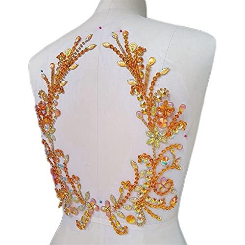 Cosa Hecha a Mano en Ropa Rhinestones Back Botice Design Silver AB Apliques for Parches de Boda Decoraciones de Vestimenta con Cuentas. (Color : Yellow)