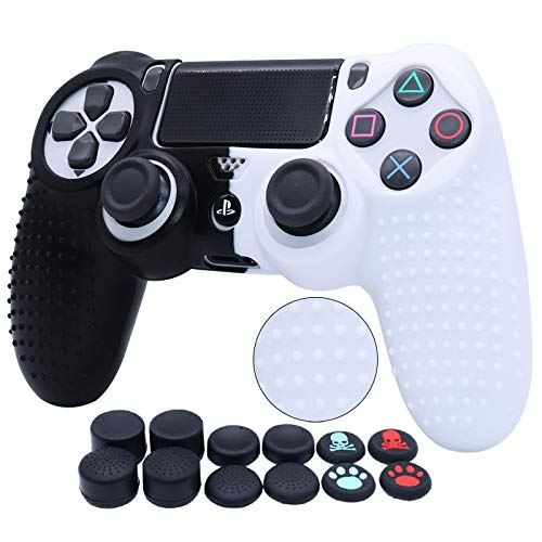 Water Transfer Printing Silicone Skin For PS4 RALAN ,PS4 Silicone Skin Controller For PS4 Slim PS4 Pro Controller (Black Pro Thumb Grip x 8 ,Cat + Skull Cap Cover Grip x 2) (Black&White)
