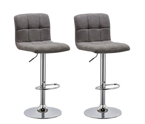 Duhome Barhocker 2X Barstuhl Kunstleder oder Stoff Tresenhocker Bar Sessel gut gepolstert höhenverstellbar mit Lehne eckig 451Y, Farbe:Grau, Material:Stoff