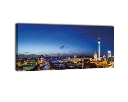 wandmotiv24 Leinwandbild Panorama Nr. 234 Berlin bei Nacht 100x40cm, Bild auf Leinwand, Deutschland Hauptstadt Fernsehturm