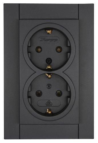 Kopp 940029084 Athenis geaard stopcontact Single anthrazit 2-voudig zonder aanrakingsbescherming.