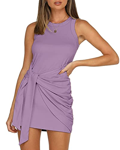 LETSRUNWILD Women's Summer Tank Dress Crew Neck Ruched Tie Waist Sleeveless Solid Casual Bodycon Short Mini Dresses MO# Lavender-Small