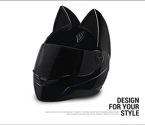 Motorradhelm für Herren und Damen, Rennsport-Persönlichkeit, 4 Jahreszeiten, Sicherheitshelm, Katzenohren-Helm