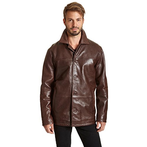 Excelled Men's Four-Button Lambskin Leather Car Coat, Brown, XX-Large