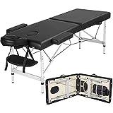 RTYUIO Mesa de Masaje Cama de Belleza Material de Aluminio Portátil 2 Secciones para Tratamiento Reiki Salon Healing Masaje Sueco Capacidad de Carga 595lb