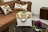 Artezen Bolsa de compras de yute natural con cremallera y asas de cinta de algodón, color blanco y marrón, 36 x 33 x 11,5 cm (13 camas)