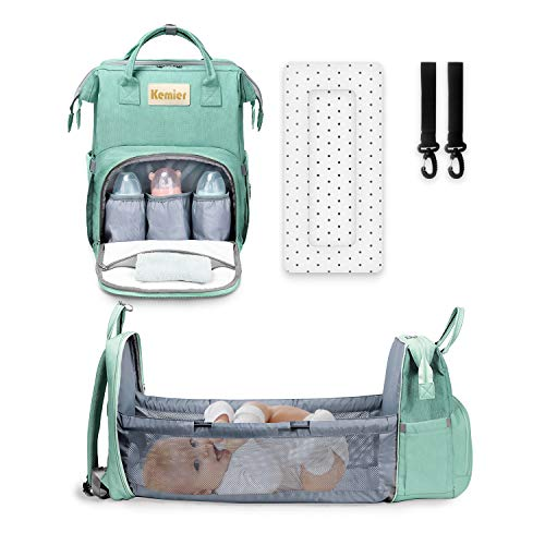Bolsa de Pañales para Bebé, Mochila para Pañales de Gran Capacidad con Cojín Suave y Cambiador Portátil, Bolsa Cambiador Multifuncional y Impermeable para el Cuidado del Bebé y Viajes
