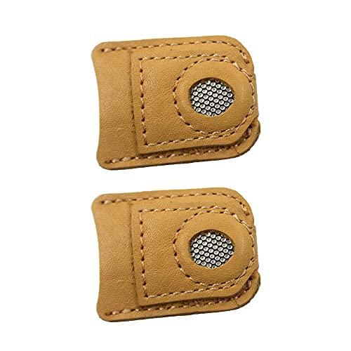 NEL Dedal de cuero para manualidades, herramientas de costura, protector con punta de metal, 2 unidades, 4,2 x 3,2 x 3,4 cm
