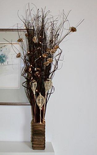 Cioccolato indiano Ting guaina fascio alto 95cm con 20luci LED a batteria in vaso di legno incluso perfetto per ogni ambiente tutto l' anno