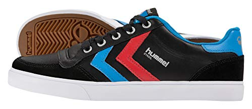 hummel HUMMEL STADIL LOW, Unisex-Erwachsene Sneakers, Schwarz (Black/Blue/Red/Gum), 40 EU (6.5 Erwachsene UK)