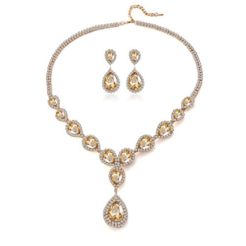 Paxuan Womens Silver/Gold Plated Teardrop White Champagne Crystal Wedding Bridal Jewelry Set Teardrop Pendant Necklace Drop Dangle Earrings Set (Gold Plated Champagne Crystal)