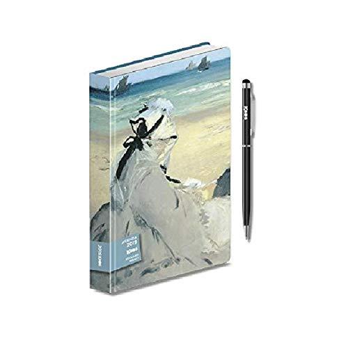 AGENDA giornaliera 2019 KAOS EDOUARD MANET Sulla spiaggia 15x10cm + penna touch + omaggio segnalibro