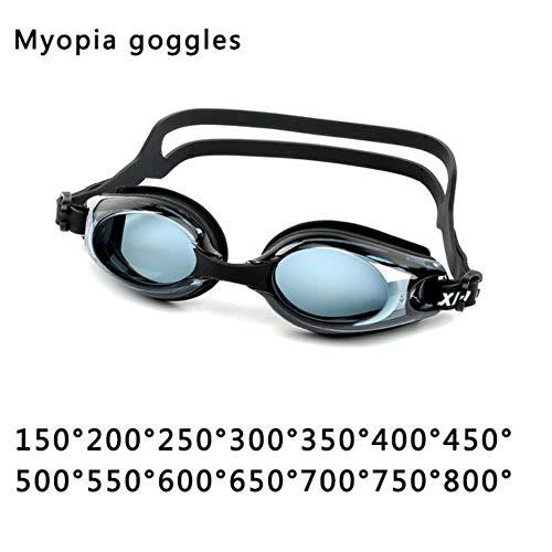 HPPL Occhiali da Nuoto in Silicone Adulto Unisex Occhiali Graduati per miopia, Occhiali da Nuoto Anti-Fog Anti-Nebbia HD, miopia Nera 500
