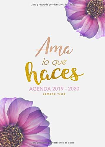 Agenda Semana Vista 2019 2020: Octubre 2019 a Diciembre 2020 Agenda Semanal - Español - Calendario, Organizador y Planificador - Agendas Semana Vista - Flores modernas en rosa (Ama lo que haces)