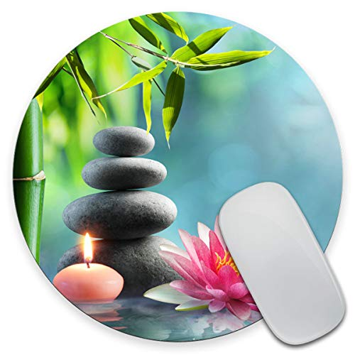 Amcove Spa Mouse Pad, Natural Alternative Therapy with Massage Stones and Waterlily in Water Round Non-Slip Rubber Mousepad 7.9 x 7.9 x 0.12 Inch