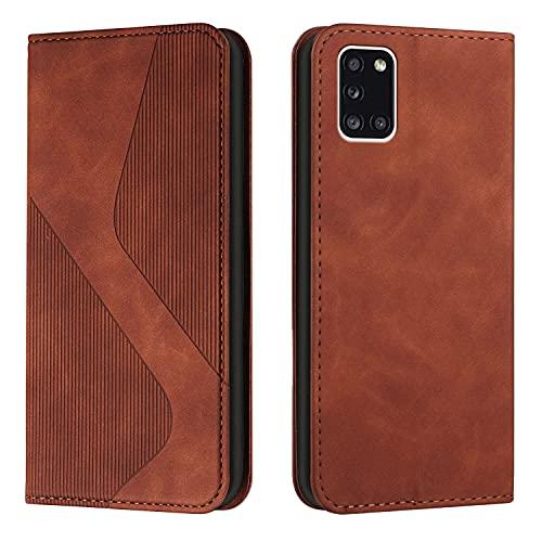 Amlope Funda para Samsung Galaxy A22 5G, Funda con Tapa de Cuero, Cartera de adsorción automática magnética Oculta Case con Ranura para Tarjetas Estuche de Cuero PU