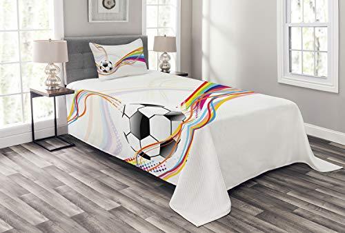 ABAKUHAUS Fußball Tagesdecke Set, Regenbogen-Muster-Linie, Set mit Kissenbezug Feste Farben, für Einselbetten 170 x 220 cm, Multicolor