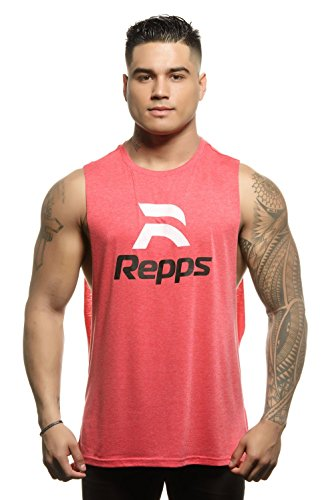 Repps Workout Cut Off Shirts for Men The Perfect Muscle Shirt Heather Red