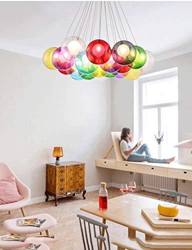 Araña de luces decorativa Redondo Color de la lámpara, Escalera Dormitorio creativa burbuja Bola de cristal de la lámpara, Sala tienda de ropa de la lámpara (Tamaño: M), Color: S Para uso en interiore
