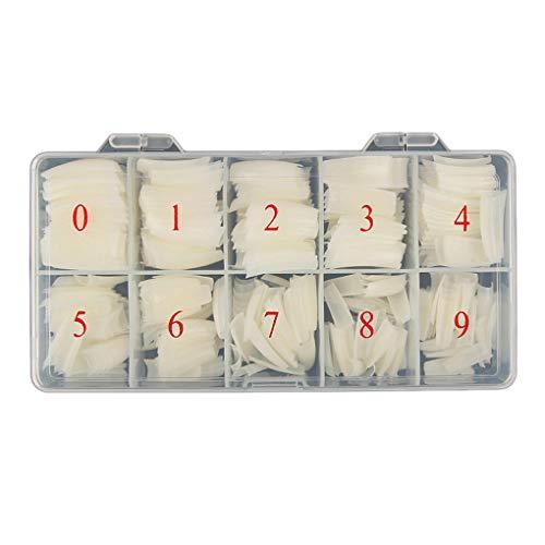 Qimao 500pcs / Box Faux Ongles Couleur naturel Type Français faux ongles Conseils Art Beauté Accessoires Salon