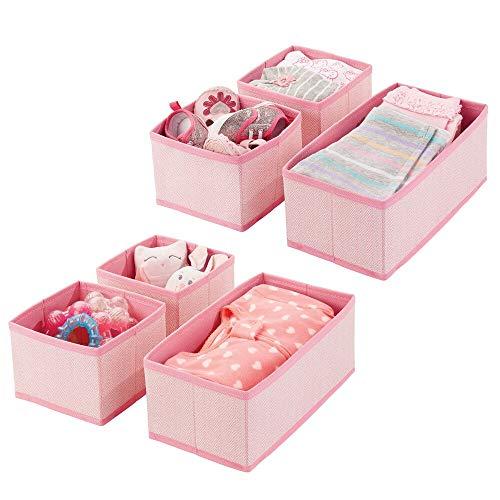 mDesign Juego de 6 cajas organizadoras – Cestas de tela transpirables con patrón en espiga para pañales, baberos, etc. – Versátiles organizadores de cajones para habitación infantil – rosa