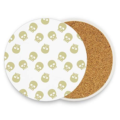 FANTAZIO Skull Head witte achtergrond Cup Mat Coaster voor wijn glas Thee Coaster met variërende patronen Geschikt voor soorten mokken en bekers 2 pieces set 1 exemplaar