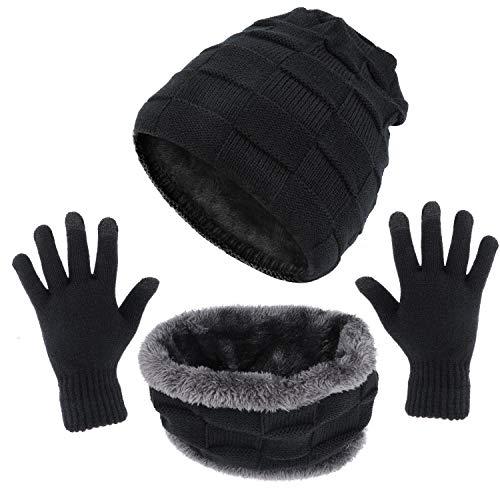 TAGVO Hiver Tricotés Ensemble Bonnet Écharpe Gants D'écran Tactile 3 en 1, Doublure Molleton Doux Ski Bonnet Épais Chaud Cache-Cou Extensible Gants Tactiles à pour Homme Femme