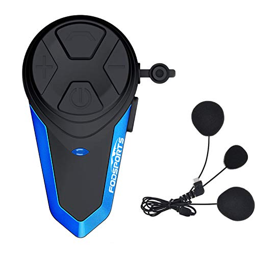 Fodsports Intercomunicador Casco Moto BT-S3 Bluetooth Cascos Moto Telefono Radio FM Impermeable Manos Libres Moto Motorcycle Intercom Headset (1 Packs of Soft Headphone)
