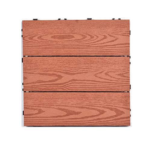 Incastro pavimento in legno-plastica Piastrelle for giardino impermeabile antiscivolo Tappetino fai da te di piastrelle decorazione del pavimento sticker da pavimento self-made 1 pezzo 30x30cm