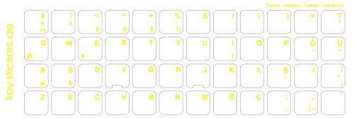Keystickers® | Türkische Aufkleber für PC/Laptop & Notebook Tastaturen 14x14mm, transparent mit mattem Schutzlack, Farbe GELB | Klavye için Türk harfleri | Turkish Keyboard Stickers