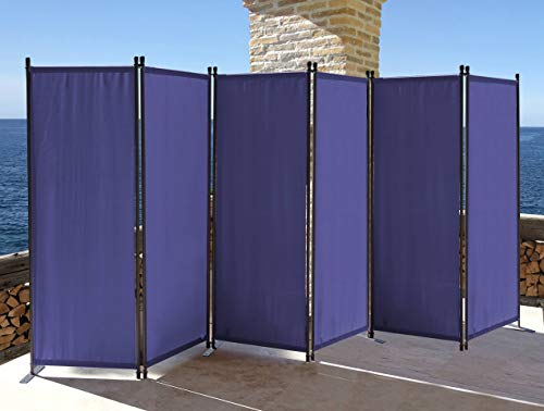 QUICK STAR Paravent 6 Teilig 340x165cm Stoff Raumteiler Trennwand Balkon Sichtschutz Stellwand Faltbar Blau