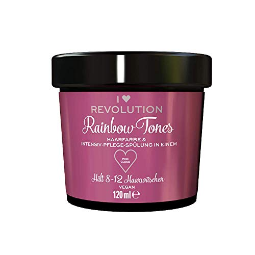 I Heart Revolution Rainbow Tones Pink Cloud - semi permanente Haarfarbe und Pflegespülung in einem - auswaschbar mit 8-12 Haarwäschen - vegan, mehrfach verwendbar - 120ml