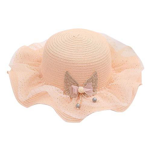 Nuevo Sombrero de Verano para el Sol para niñas Lindas, Sombrero de Paja para niños con Lazo de Encaje, Visera de Flores, Gorra de Princesa, Sombrero de Playa para bebés, (C)