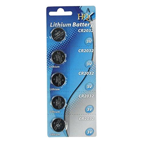 HQ CR2032 Pile bouton 3V-200 MAh Lithium - LOT DE 5